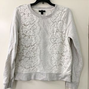 J. Crew Pullover Sweatshirt with Lace Detail M